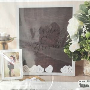 NEW Bride & Groom shadow box frame with hearts